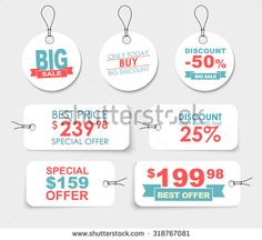 Set of white labels (tags, price tags) of different shapes with different design…