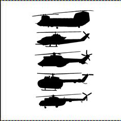 "Helicopters-set of 4- 4 1/2""H x 16""W each- boys nursery play military room vinyl wall decal sticker- by VinylDesignCreations on Etsy"