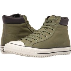 Converse Chuck Taylor All Star Boot PC Shield Canvas Hi (Fatigue... ($41) ❤ liked on Polyvore featuring men's fashion, men's shoes, men's sneakers, olive, mens black hi top sneakers, mens high top sneakers, mens canvas sneakers, mens high tops and mens lace up shoes