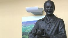 The statue of James Herriot at The World of James Herriot in Thirsk, North Yorkshire