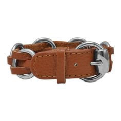 """8"""" - 9"""" Tan Leather Fashion Bracelet with Round Silver Tone Links"""
