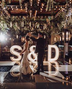 Stephanie + Drew - Real Wedding - Weddings in Houston- Light Box Letters – Wedding Reception Entertainment – Flowers & Decor – Venue: The Astorian Perfect Wedding, Fall Wedding, Wedding Reception, Our Wedding, Wedding Venues, Wedding Dress, Wedding Goals, Wedding Themes, Wedding Planning