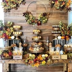 Rustic Autumn Themed Dessert Table - Fall themed rustic dessert table styled by Fall Wedding Desserts, Fall Desserts, Decoration Evenementielle, 1st Boy Birthday, Cake Table, Baby Shower Fall, Autumn Theme, Autumn Wedding, Wedding Decorations
