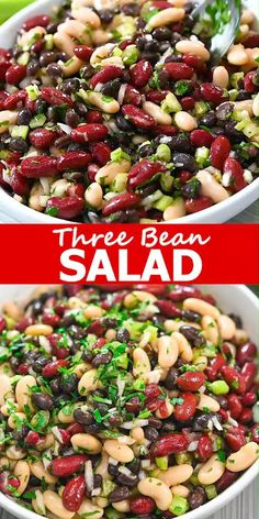 Three Bean Salad is such an easy dish to make. With onion, celery, and parsley mixed with the three different beans, your salad is full of protein and fiber and has a delightful mix of textures. Healthy Dinner Recipes, Vegetarian Recipes, Cooking Recipes, Vegetarian Lunch, Summer Lunch Recipes, Easy Summer Salads, Easy Salads, Healthy Dinners, Three Beans