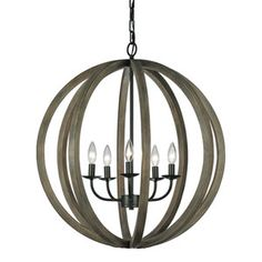 Allier Weather Oak Wood And Antique Forged Iron Four Light Pendant Feiss Globe Pendant Lig