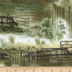 Judy Niemeyer's Reclaimed West Tractor Meadow from @fabricdotcom  Designed by Judy Niemeyer for Timeless Treasures, this cotton print is perfect for quilting, apparel and home decor accents. Colors include green, white, black,  grey and tan.
