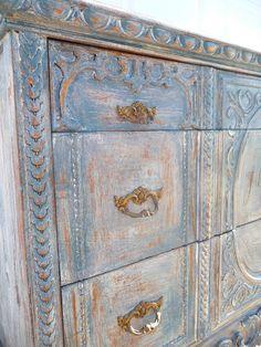 blue Chalk Paint Projects, Chalk Paint Furniture, Distressed Furniture, Hand Painted Furniture, Repurposed Furniture, Furniture Makeover, Antique Furniture, Distressed Dresser, Grey Dresser