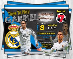 Excited to share this listing from my #etsy shop: Invitación digital para Cumpleaños de Cristiano Ronaldo Real Madrid FC http://etsy.me/2DvmwsO #papergoods #birthday #invitacion #cumpleanos #nino #nina #boy #girl #party
