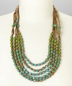 Love this Blue & Green Beaded Ribbon Necklace by ZAD on #zulily! #zulilyfinds
