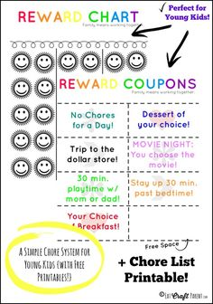 Love how easy this is for younger kids! A good alternative to paying in money, using different family rewards instead. Also has a cute printable chore list, that they can check off too. kids and money, teachiing kids about money Chore Rewards, Behavior Rewards, Kids Rewards, Chore List, Kids Behavior, Printable Reward Charts, Reward Chart Kids, Chore Chart Kids, Chore Charts