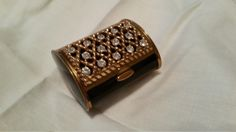 Black Vintage Rhinestone Compact with Puff by Twotearsinapail
