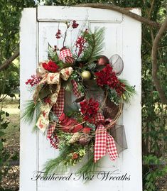 Cardinal Christmas Wreath Traditional by FeatheredNestWreaths
