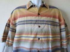 Men's The Territory Ahead Brown Gold Color Casual Shirt Short Sleeve Size Extra Large