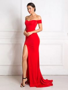 Red Maxi Dress Split Front Off The Shoulder Bodycon - adsfay Red Bridesmaid Dresses, Pink Prom Dresses, Prom Dresses Online, Dance Dresses, Homecoming Dresses, Dress Online, Prom Outfits, Wedding Dresses, Clothing Styles