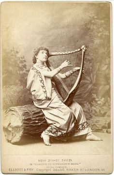 """Cabinet photograph of Jessie Bond as """"The Lady Angela"""" in Patience, by Elliott & Fry, c.1881, original production."""