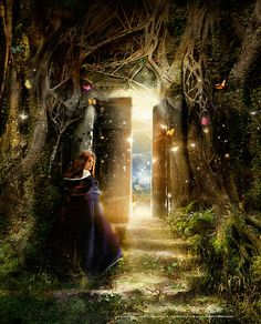 """A Knock at the Door"" - Illustration by AngiandSilas [a magical door covered in vines and gorgeous details and a woman with a cape getting ready to enter the world beyond]"