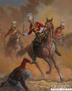 Officer 16th Lancers India, 1846 by Mark Churms.    The 16th Lancers were part of General Sir Harry Smith's army consisitng of the British and Bengali army of 12,000 men and 30 guns against the Sikh army of 30,000 men and 67 guns of Ranjodh Singh during the First Sikh War which was fought on the 28th January 1848 in the Punjab in the North West of India. This painting depicts the 16th Lancers which were part of Brigadier Macdowell's brigade consisitng of the 16th Queen's Lancers, 3rd Bengal…