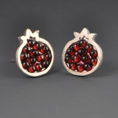 Pomegranate Garnet Mosaic Stud Post Earrings