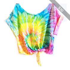 Tie Dye Crop Top Coachella Crop Top Tiedye Tshirt Women's Clothing Music Festival Tumblr Tee Hippie