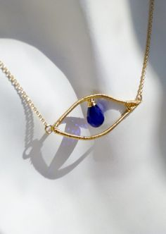 Cobalt Blue Evil Eye Necklace Spring 2013/// by MistyEvansDesign, $130.00