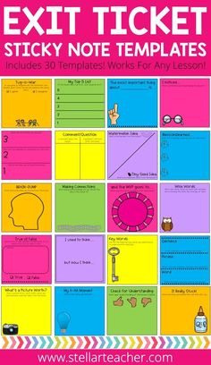 I love printing on sticky notes and these exit tickets are such a fun way for my graders to share what they learned at the end of our lesson. The prompts are fun and fresh and my students never get bored when I give them these exit tickets, Instructional Strategies, Teaching Strategies, Teaching Tips, Siop Strategies, Kagen Strategies, Instructional Coaching, Instructional Technology, Differentiated Instruction, Collaborative Strategies