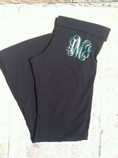 Monogram Yoga Pants by JuneFirstDesigns on Etsy