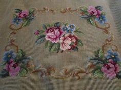 Beautiful Vintage PREWORKED Roses Petit Point NEEDLEPOINT CANVAS Chair Cover (s)
