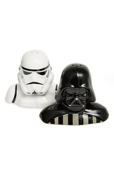 Spice up your dinner table with a set of ceramic shakers shaped like a Stormtrooper and Darth Vader. Feel free to hum the Star Wars theme as you shake.  Free shipping and returns on Vandor Star Wars Salt & Pepper Shakers at Nordstrom.com.