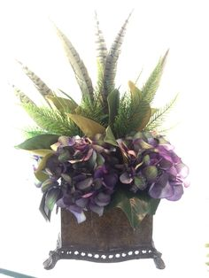 Eggplant hydrangea with feathers