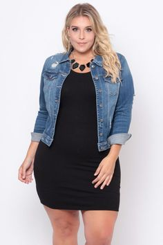 Plus Size Distressed Denim Jacket – Dark Wash Plus Size Distressed Denim Jacke – Dark Wash Trendy Plus Size Clothing, Plus Size Fashion For Women, Plus Size Dresses, Plus Size Outfits, Big Size Fashion, Curvy Girl Outfits, Curvy Girl Fashion, Casual Outfits, Fashion Outfits