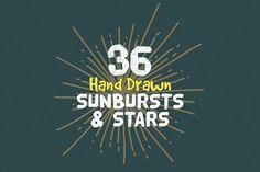 36 Hand Drawn Sunbursts & Stars by GraphicsFuel on @creativemarket