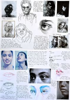These sketchbook pages are an example of the artist analysis and experiment that Samantha completed as part of her GCSE exam project. The drawing and media trials demonstrate a level of technical skill and confidence that is well beyond her years. Inspiration Art, Sketchbook Inspiration, Sketchbook Ideas, Arte Gcse, Artist Research Page, Kunst Portfolio, Gcse Art Sketchbook, A Level Art Sketchbook Layout, Art Diary