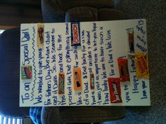 Ideas Birthday Poster Board Ideas Diy Candy Bars For 2019 Candy Poster Board, Candy Bar Posters, Candy Board, Birthday Surprise Kids, Birthday Party Snacks, Diy Birthday, Diy Father's Day Gifts From Daughter, Diy Gifts For Dad, Candy Crafts