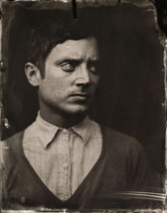 Elijah Woodposes for a tintype (wet collodion) portrait during the 2014 Sundance Film Festival in Park City, Utah