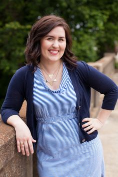 Blue on blue // blue striped dress // navy cardigan // gold accessories