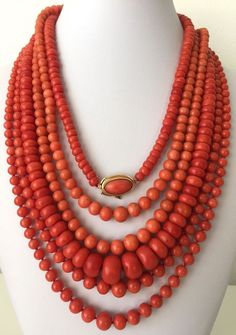 168 gram antique natural un-dyed coral bead coral necklace 18k gold collection