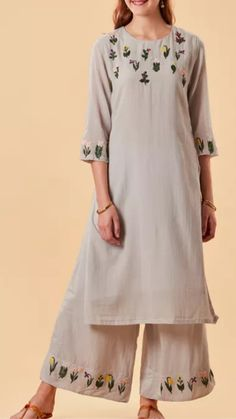 White Embroidered Indian Tunic  Gold Floral Embellished Kurti Dress  Vintage white large kurta