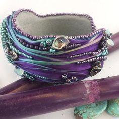Beaded shibori silk bracelet