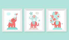 Aqua Green and Coral Elephant Nursery Prints por SweetPeaNurseryArt