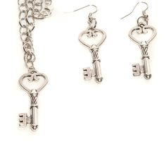 Silver Plated Key Necklace and Earring Set - My Favorite Beads