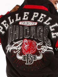 Pelle Pelle Men's Chicago City Tribute Varsity Jacket -- Black red Marc Buchanan #PELLEPELLE #VarsityBaseball