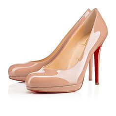 """""""New Simple Pump"""" is a stunning update on Monsieur Louboutin's famed """"Simple Pump"""" for the Spring/Summer season. The narrow exposed platform gives this beautiful, classic style a contemporary twist. This 120mm version in nude patent leather transitions seamlessly from daytime to evening."""