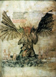 Divina CommediaDante and Virgil climb down on Lucifer, f. 47    ~Dante Alighieri    c 1380 to 1385  Vellum  127 leaves (2 columns, 30-36 lines), 36 x 26.5cm  Pierpont Morgan Library MS M.676 or M.0676 , New York, New York, United States