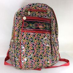 Vera Bradley Frill Symphony in Hue Lylas Backpack Red School Large Travel Work…