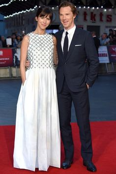 Sophie Hunter, in a Dior Couture dress and Benedict Cumberbatch in a Dior Homme suit 2015