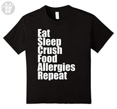 Kids Eat Sleep Crush Food Allergies Repeat Trending T-Shirt 4 Black - Eat sleep repeat t shirts (*Amazon Partner-Link)