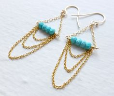 Turquoise Chain Goldfilled earrings. $24.00, via Etsy.