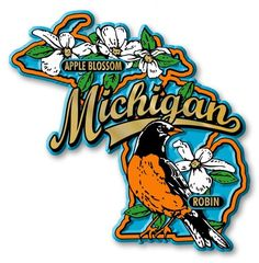 "Our Michigan State Bird & Flower Map Magnets measure approximately 5 square inches and have a thickness of 0.1"""". The Michingan State Bird & Flower Map Magnet design features an American robin, apple"