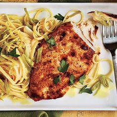 Chicken with Lemon-Leek Linguine | MyRecipes.com