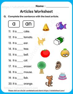 Articles Worksheet for Grade 2 – Choose the Best One from A or An - Your Home Teacher English Activities For Kids, English Grammar For Kids, English Worksheets For Kindergarten, Learning English For Kids, English Grammar Worksheets, 2nd Grade Worksheets, English Lessons For Kids, Kindergarten Lessons, English Teaching Materials